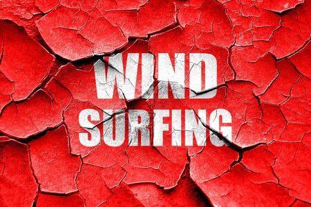 wind surfing: Grunge cracked wind surfing sign background with some soft smooth lines