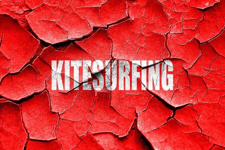 kite surf: Grunge cracked kitesurfing sign background with some soft smooth lines