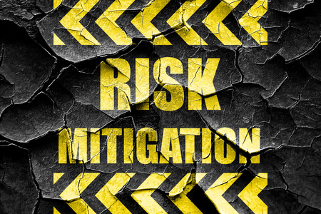 mitigating: Grunge cracked Risk mitigation sign with some smooth lines and highlights