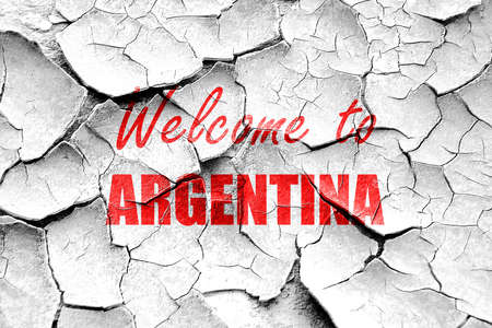 argentine: Grunge cracked Welcome to argentine card with some soft highlights Stock Photo