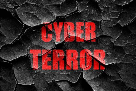 terror: Grunge cracked Cyber terror background with some smooth lines Stock Photo