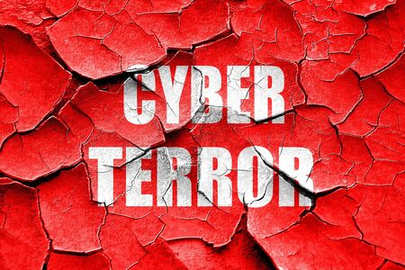 cyber terrorism: Grunge cracked Cyber terror background with some smooth lines Stock Photo
