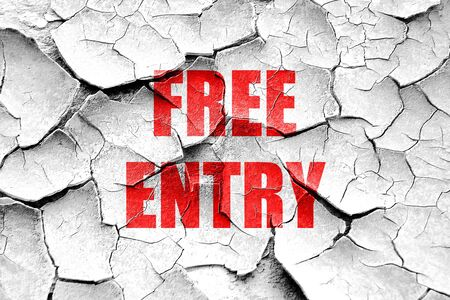 freebie: Grunge cracked Free entry sign with some soft smooth lines