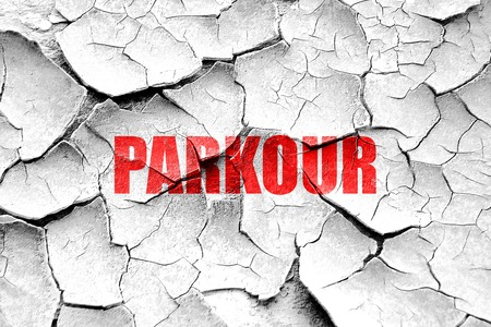 parkour: Grunge cracked parkour sign background with some soft smooth lines Stock Photo