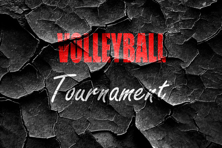 Grunge gebarsten volleyball teken achtergrond met sommige zachte vloeiende lijnen