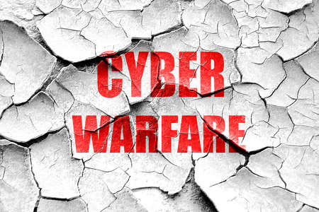 capitalized: Grunge cracked Cyber warfare background with some smooth lines