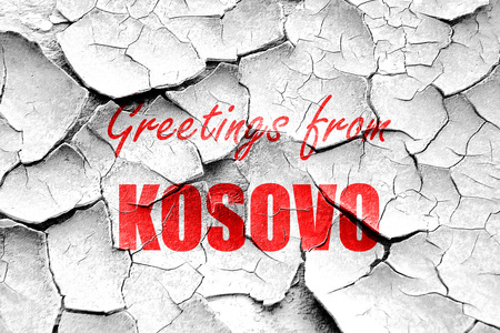 kosovo: Grunge cracked Greetings from kosovo card with some soft highlights