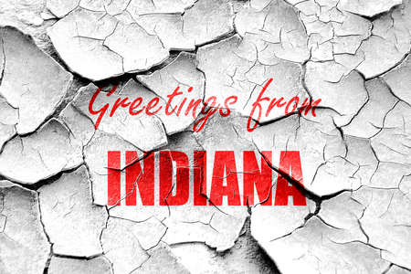 indiana: Grunge cracked Greetings from indiana with some smooth lines