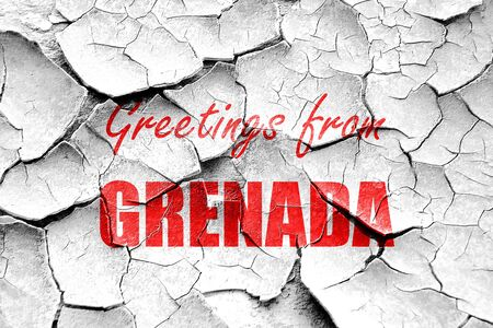 grenada: Grunge cracked Greetings from grenada card with some soft highlights