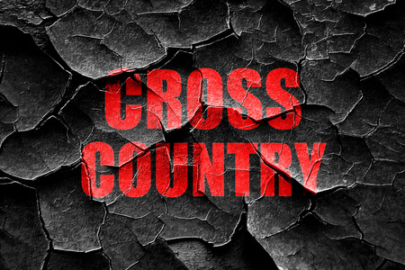 cross country: Grunge cracked cross country sign background with some soft smooth lines Stock Photo