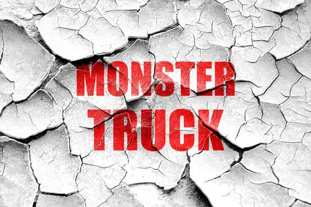 monster truck: Grunge cracked monster truck sign background with some soft smooth lines