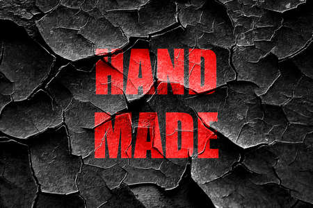 made to order: Grunge cracked hand made sign with some smooth lines Stock Photo