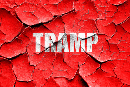tramp: Grunge cracked tramp sign background with some soft smooth lines Stock Photo