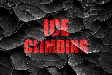 ice climbing: Grunge cracked ice climbing sign background with some soft smooth lines