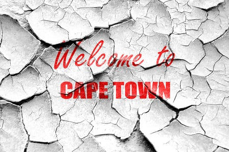 cape town: Grunge cracked Welcome to cape town with some smooth lines