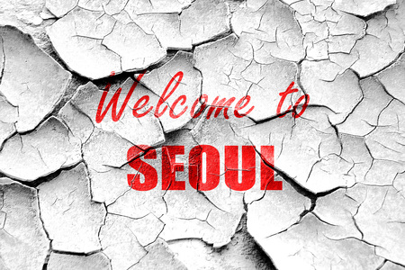 seoul: Grunge cracked Welcome to seoul with some smooth lines Stock Photo