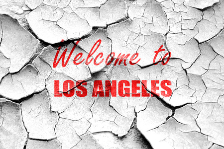 angeles: Grunge cracked Welcome to los angeles with some smooth lines