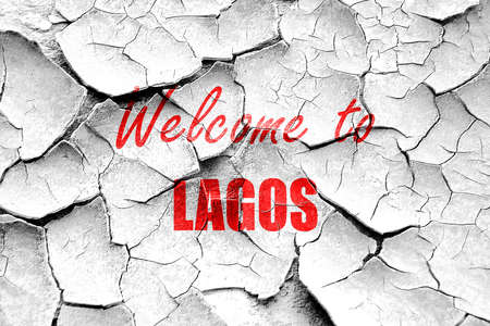 lagos: Grunge cracked Welcome to lagos with some smooth lines