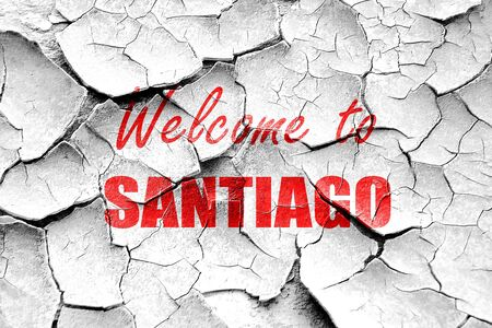 santiago: Grunge cracked Welcome to santiago with some soft smooth lines Stock Photo