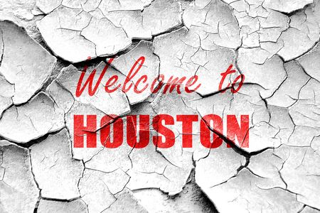 houston: Grunge cracked Welcome to houston with some smooth lines