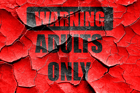 Grunge cracked adults only sign with some vivid colors Stock Photo