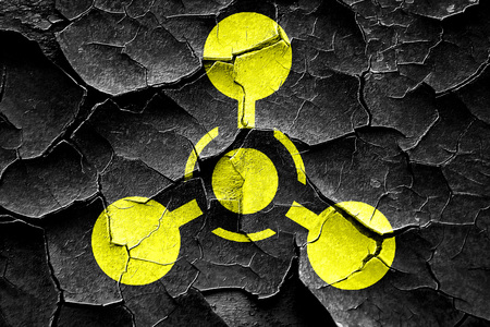 hazard: Grunge cracked Chemical weapon sign on a grunge background with some scratches