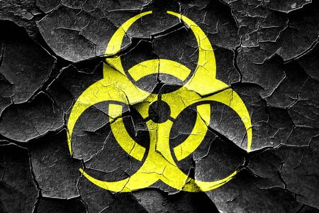 biological warfare: Grunge cracked Bio hazard sign on a grunge background Stock Photo