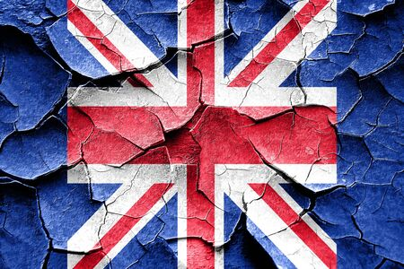 british culture: Grunge cracked Great britain flag with some soft highlights and folds