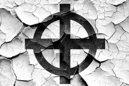 celtic cross: Grunge cracked Celtic cross representation with black and white colors Stock Photo