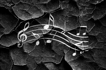 whirling: Grunge cracked Music note background with some soft smooth lines