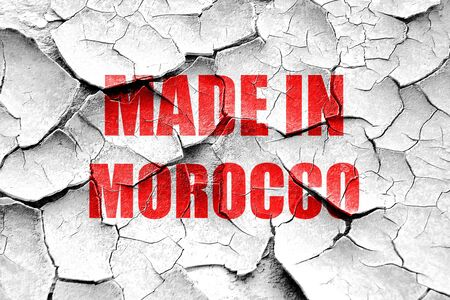 made in morocco: Grunge cracked Made in morocco with some soft smooth lines Stock Photo