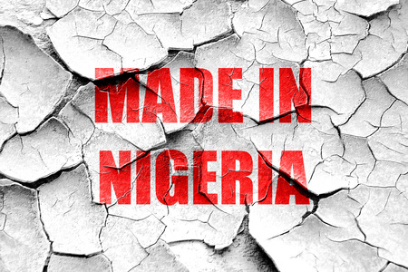 commerce and industry: Grunge cracked Made in nigeria with some soft smooth lines Stock Photo
