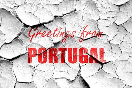 portugese: Grunge cracked Greetings from portugal card with some soft highlights