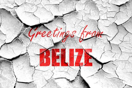 tourism in belize: Grunge cracked Greetings from belize card with some soft highlights Stock Photo