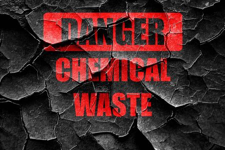hazardous area sign: Grunge cracked Chemical waste sign with some smooth lines