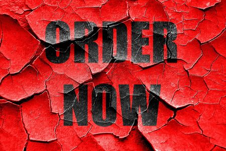 order now: Grunge cracked Order now sign with some soft smooth lines Stock Photo