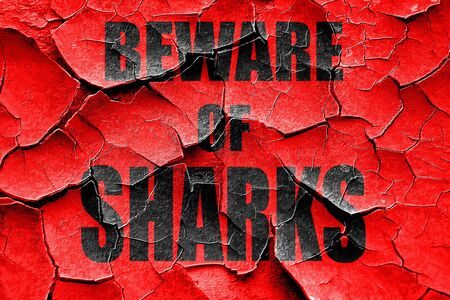 sighting: Grunge cracked Beware of sharks sign with some smooth lines