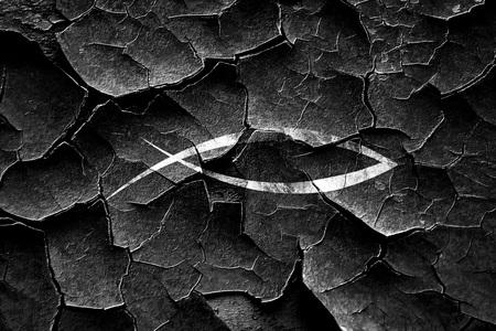 pez cristiano: Grunge quebró el símbolo de los pescados con unas líneas suaves suaves Foto de archivo