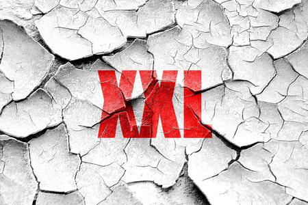 xs: Grunge cracked xxl sign background with some soft smooth lines Stock Photo
