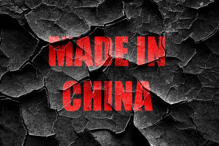 made in china: Grunge cracked Made in china with some soft smooth lines