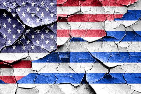 broken unity: Grunge Uruguay flag combined with american flag