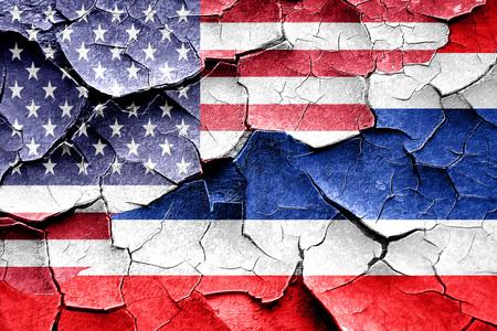 Grunge vlag van Thailand in combinatie met Amerikaanse vlag