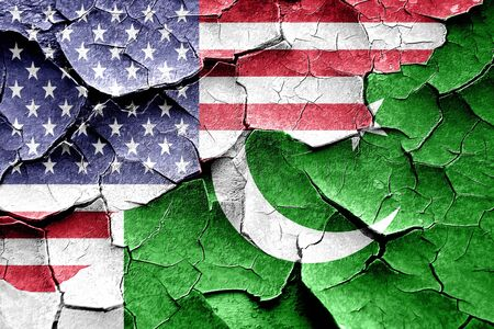 pakistan flag: Grunge Pakistan flag combined with american flag Stock Photo
