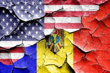 moldova: Grunge Moldova flag combined with american flag Stock Photo