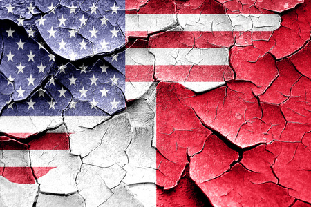malta flag: Grunge Malta flag combined with american flag Stock Photo