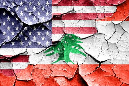 broken unity: Grunge Lebanon flag combined with american flag Stock Photo