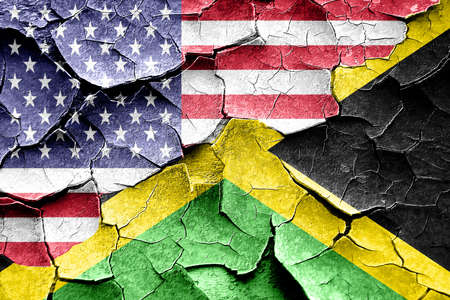 broken unity: Grunge Jamaica flag combined with american flag