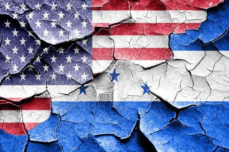 bandera honduras: Grunge Honduras flag combined with american flag Foto de archivo