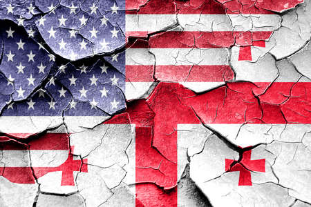 broken unity: Grunge Georgia flag combined with american flag Stock Photo