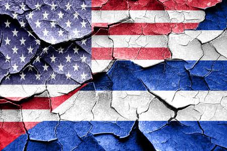 cuba flag: Grunge Cuba flag combined with american flag Stock Photo